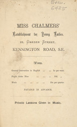 Advert For Miss Chalmers Establishment For Young Ladies